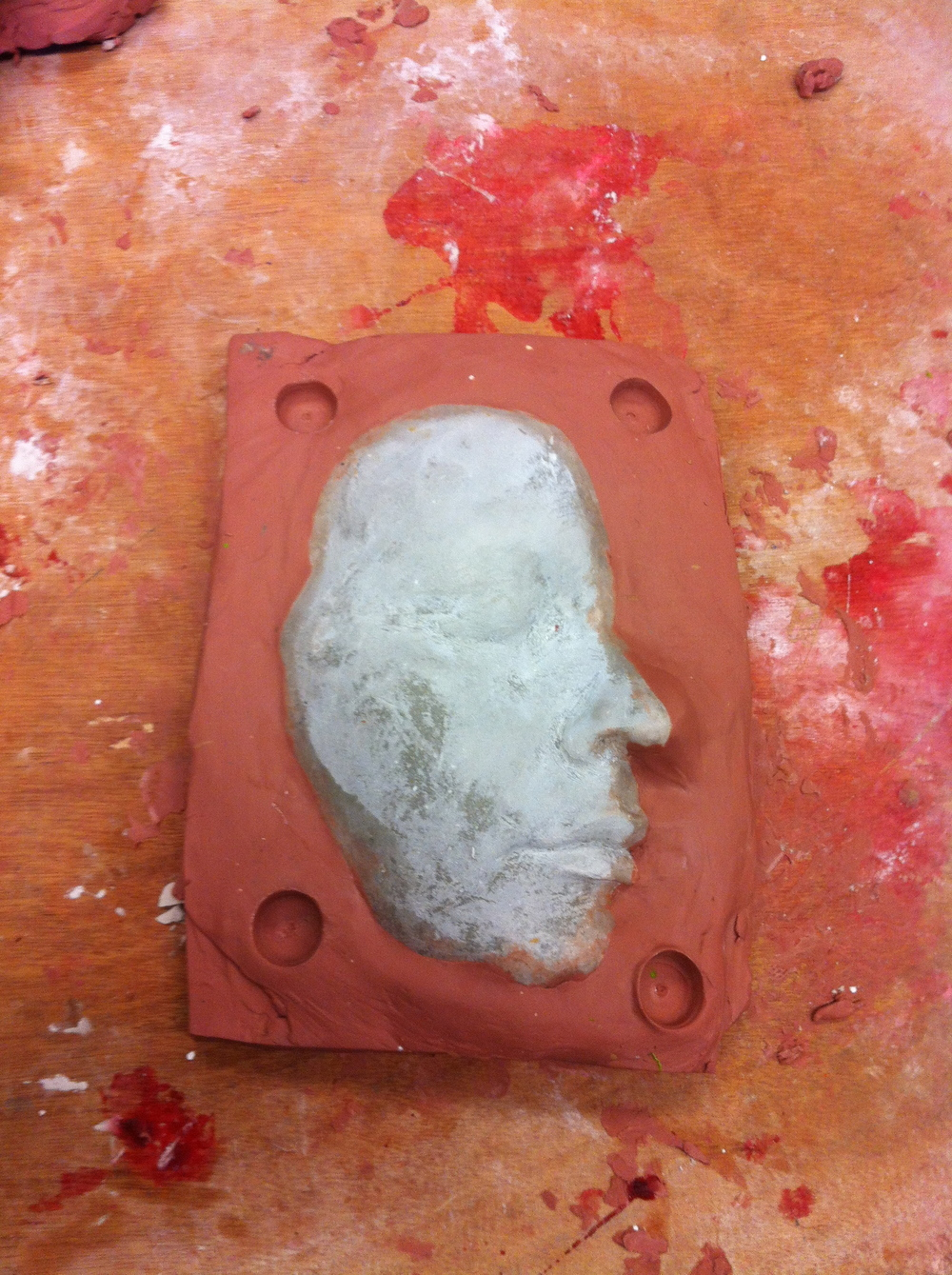 Face positive ready for a prosthetic to be sculpted upon it.