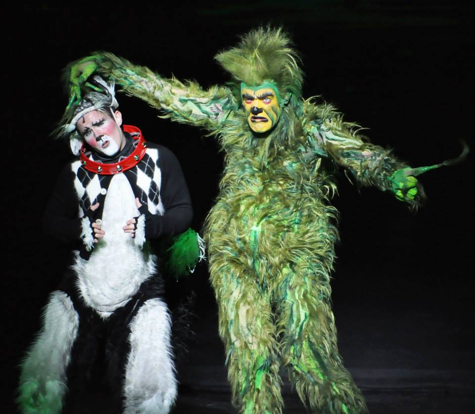 Stefan Karl as the Grinch and Andreas Wyder as Young Max in  How the Grinch Stole Christmas!  national tour 2013  Photo by The Groovy Gringa