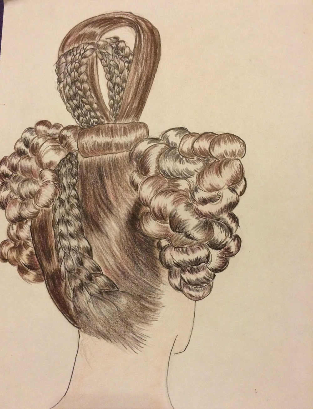 1830's Biedermeier Hairstyle (back)
