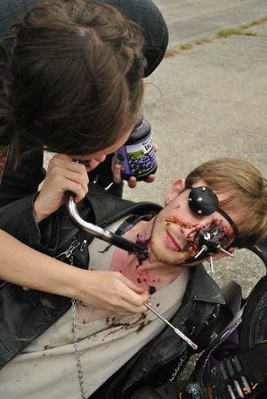 M is For Marauders   On set applying a handlebar wound and blood  With  Kai Ravelson