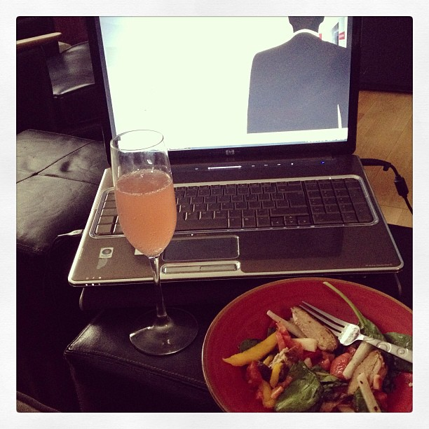 Just finished delivering my first corporate catered lunch! Now for ME time #madmen #mimosa #eviljerkchickensalad