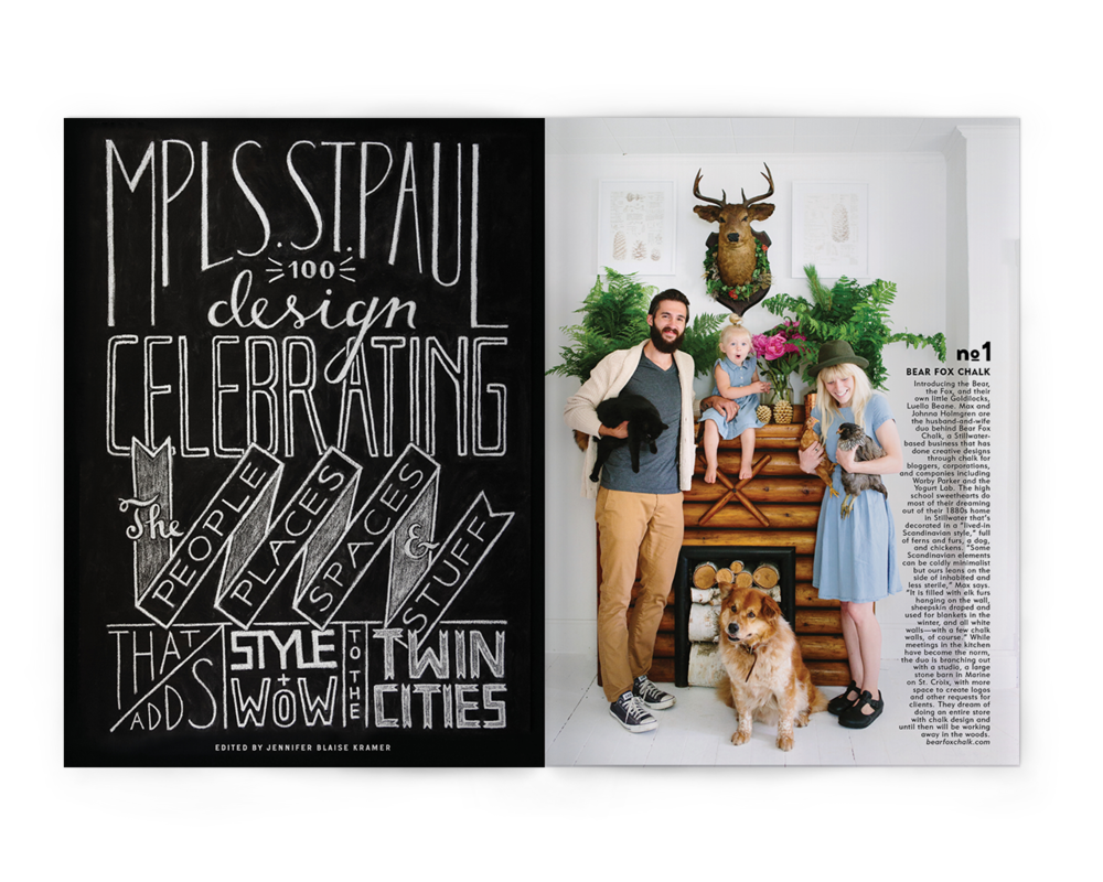 Creative Direction + Design by Liz Gardner for Mpls.  St. Paul magazine Chalk Art by Bear Fox Chalk Photo by Canary Grey