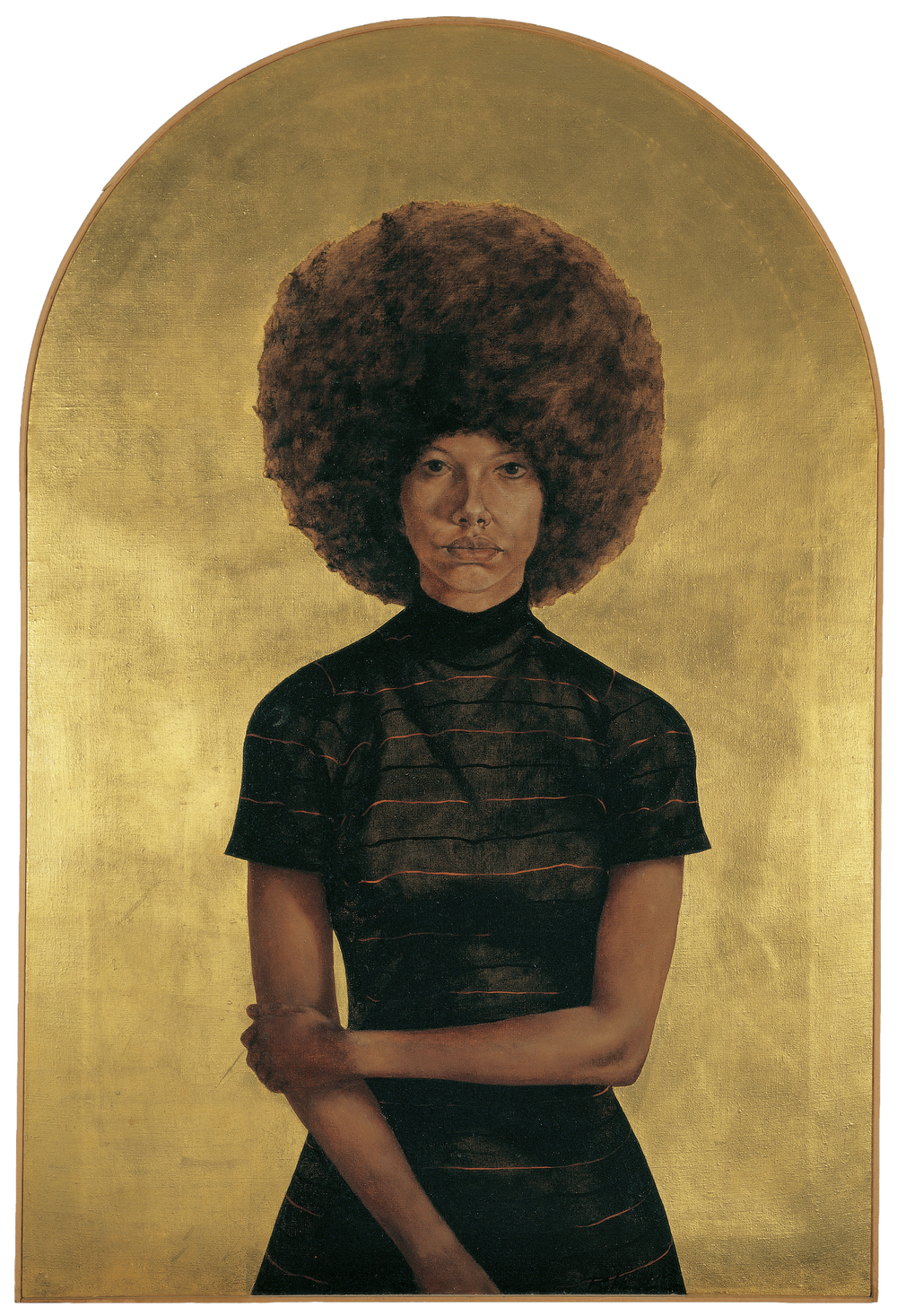 Barkley L. Hendricks (American, born 1945). Lawdy Mama, 1969. Oil and gold leaf on canvas, 53 3/4 x 36 1/4 in. (136.5 x 92.1 cm). The Studio Museum in Harlem, Gift of Stuart Liebman, in memory of Joseph B. Liebman, 83.25. © Barkley L. Hendricks. Photo: Courtesy of the artist and Jack Shainman Gallery, New York    Witness: Art and Civil Rights in the Sixties is organized by the Brooklyn Museum