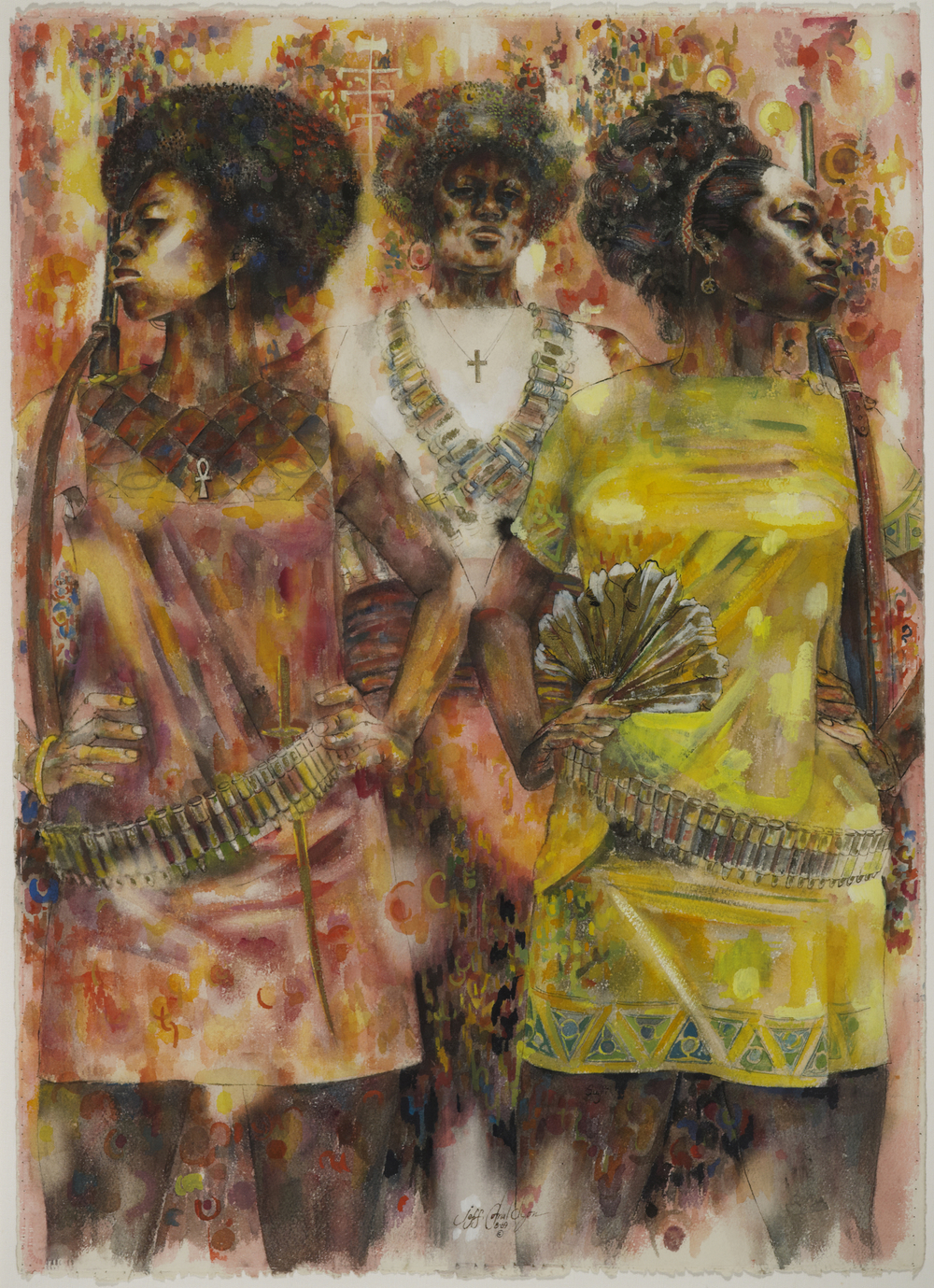 Jeff Donaldson (American, 1932-2004). Wives of Shango, 1969. Watercolor with mixed media on paper, Sheet: 30 x 22 in. (76.2 x 55.9 cm). Brooklyn Museum, Gift of R.M. Atwater, Anna Wolfrom Dove, Alice Fiebiger, Joseph Fiebiger, Belle Campbell Harriss, and Emma L. Hyde, by exchange; Designated Purchase Fund, Mary Smith Dorward Fund, Dick S. Ramsay Fund, and Carll H. de Silver Fund, 2012.80.13. © Jameela K. Donaldson    Witness: Art and Civil Rights in the Sixties is organized by the Brooklyn Museum