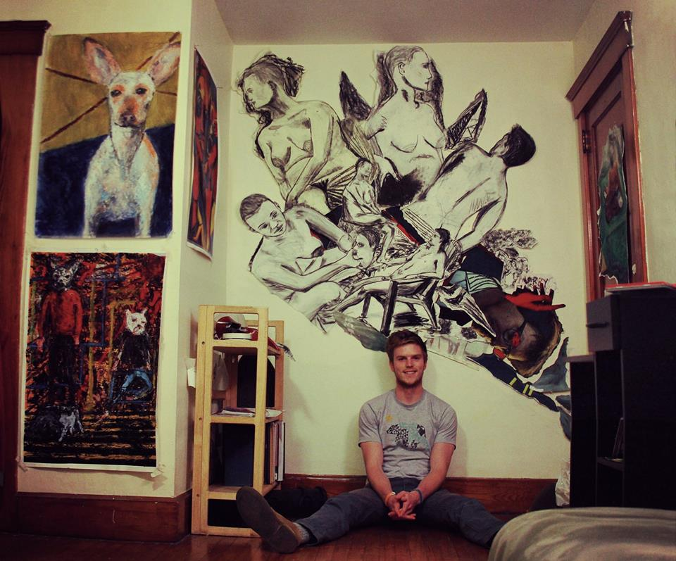 Albrecht with some of his works.