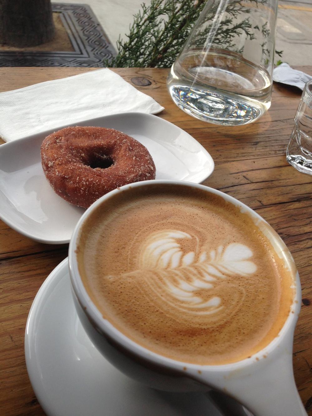 Intelligentsia Latte & Cinnamon Sugar Donut