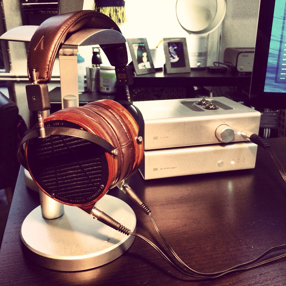 My office setup featuring the Schiit Audio LYR/BIFROST AMP/DAC combo, and the  Audeze LCD3s.