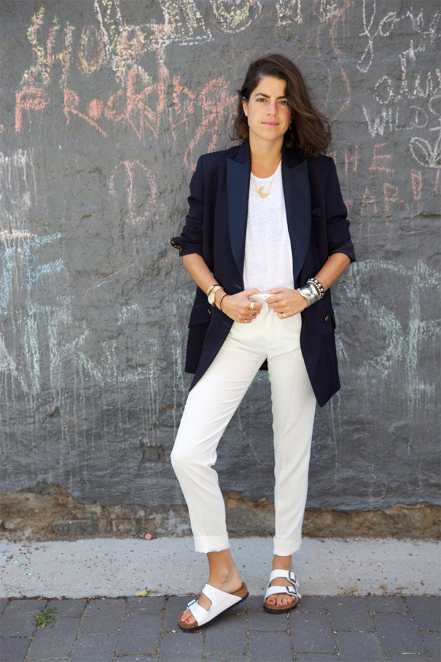 –Leandra Medine wearing white Birks, photo courtesy of The Man Repeller.