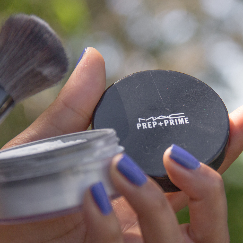 POW·DER   poudər     noun  :  a cosmetic in the form of powder, applied to a person's face with a brush or soft pad.    verb  :  apply powder to (the face or body):