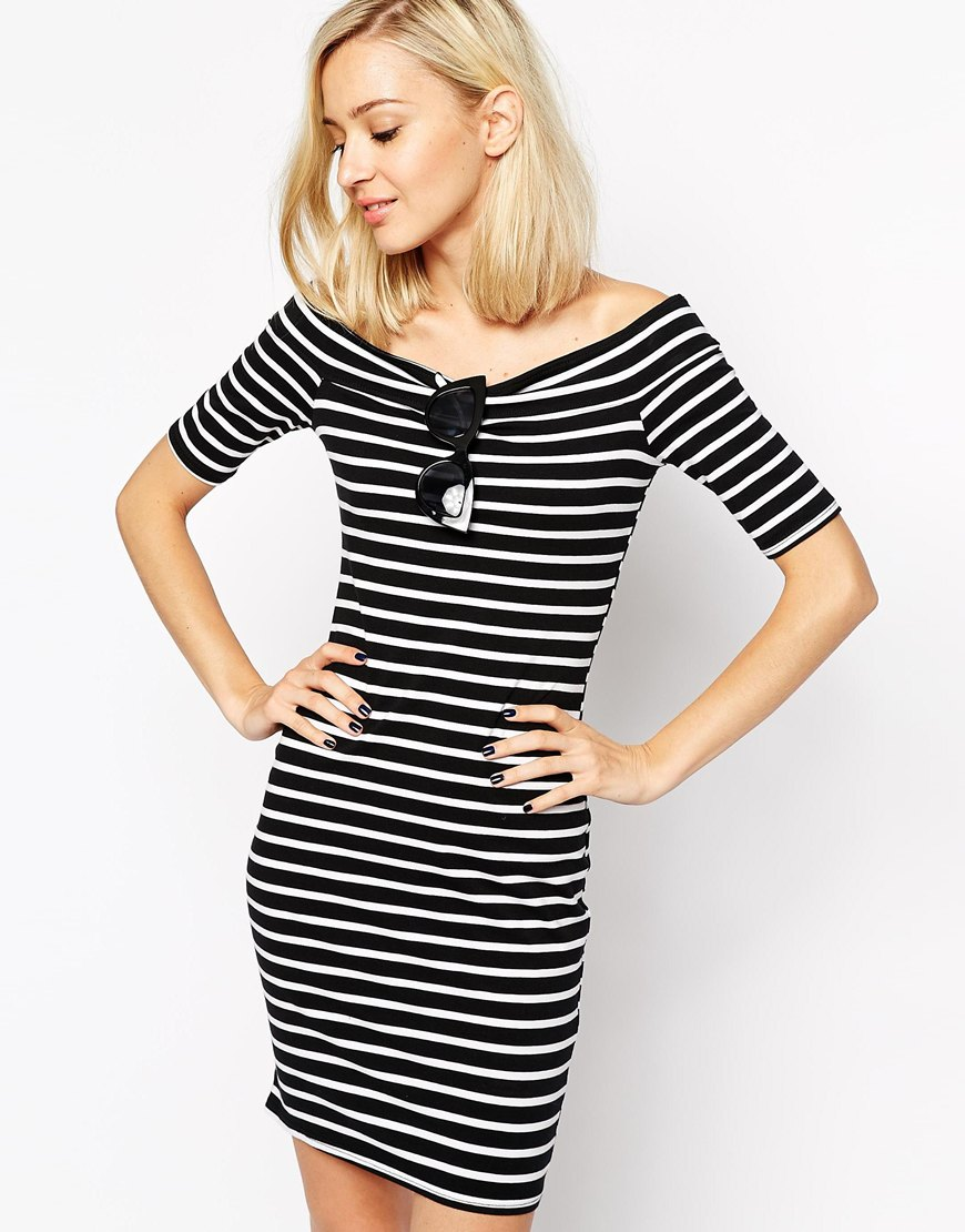 River Island Stripe Bardot Dress   $57.13