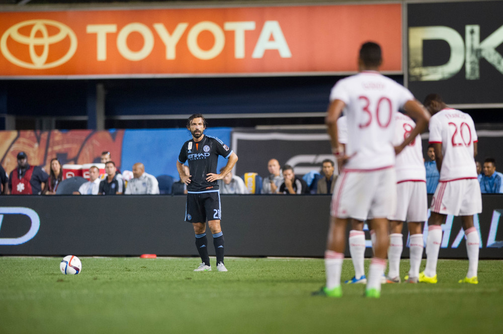 Andrea Pirlo eyeing up the set piece | Nikon D3s f/2.8 1/1,000 300mm