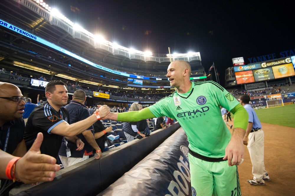 Josh Saunders greeting fans after the game at Yankee Stadium | Nikon D3s f/4 1/800 16mm