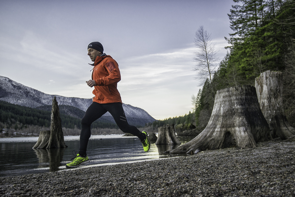 Endurance athlete Kyle Durand on a lake side trail run in the Snoqualmie Region of Washington