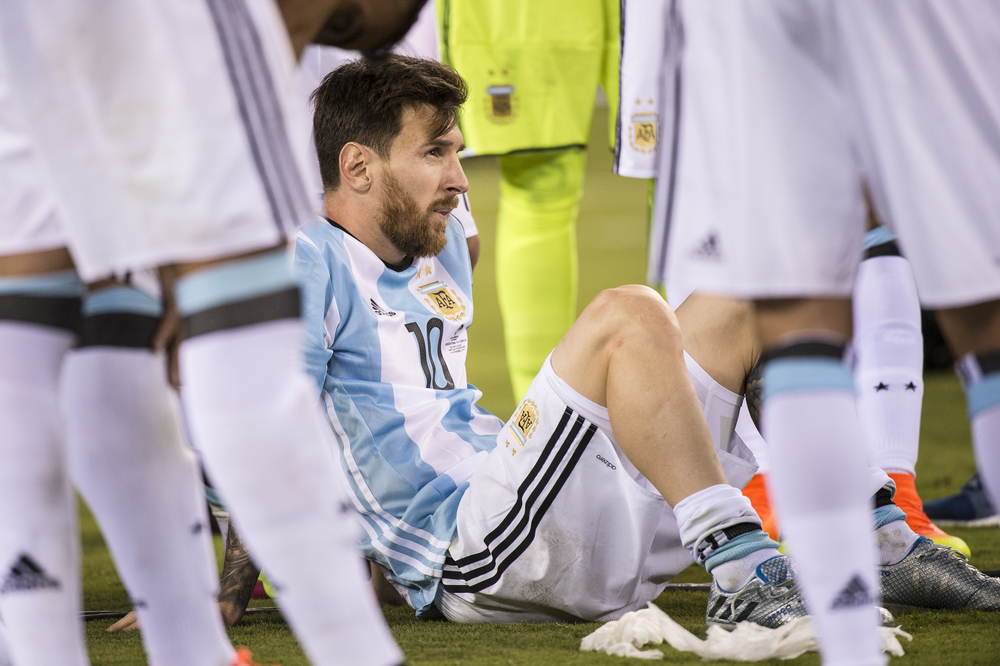 Leo Messi upset after the loss to Chile.  Nikon D3s 70-200mm f2.8