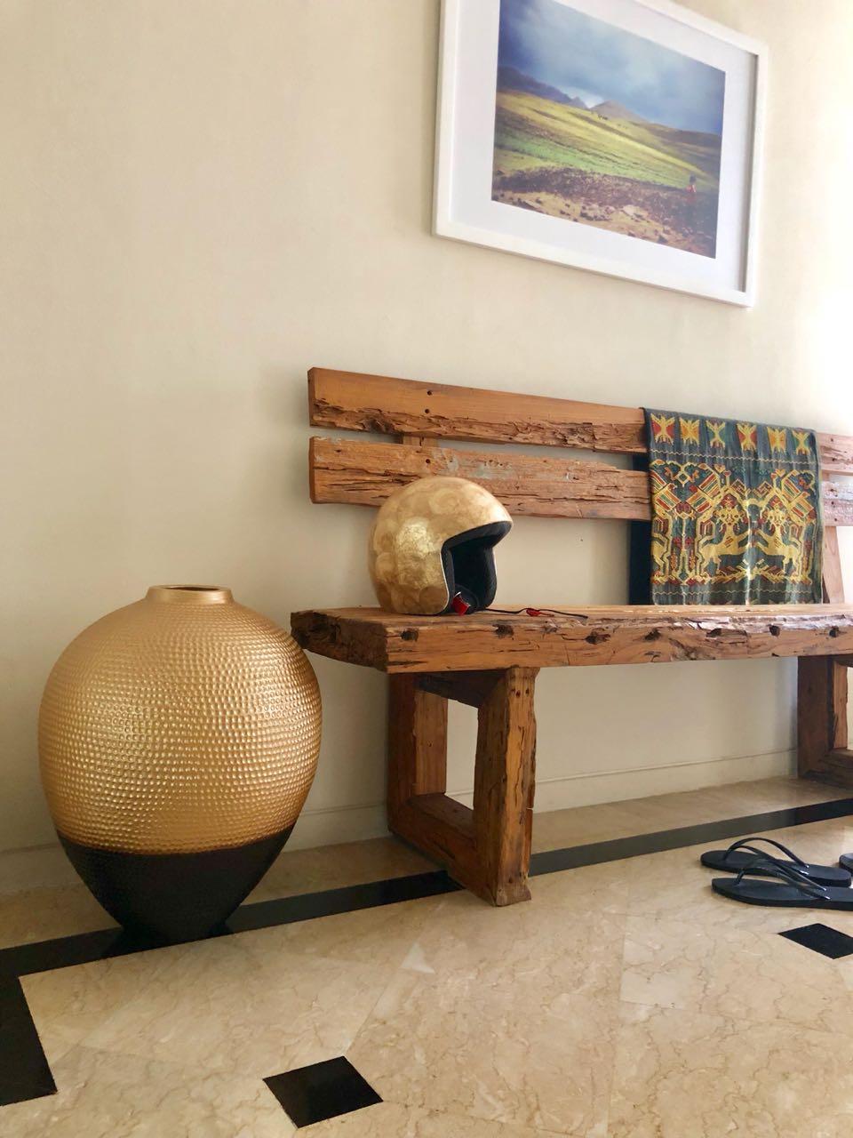 oversized gold/black vase