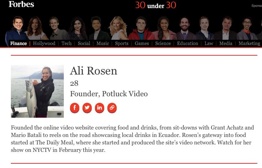 Forbes 30 Under 30 - Ali Rosen