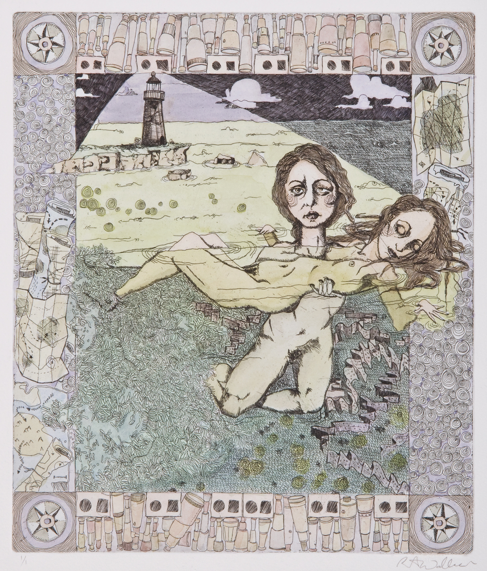 sisters I , etching and watercolor on paper, 2006