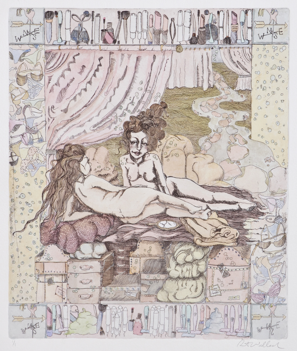 sisters II  , etching and watercolor on paper, 2006