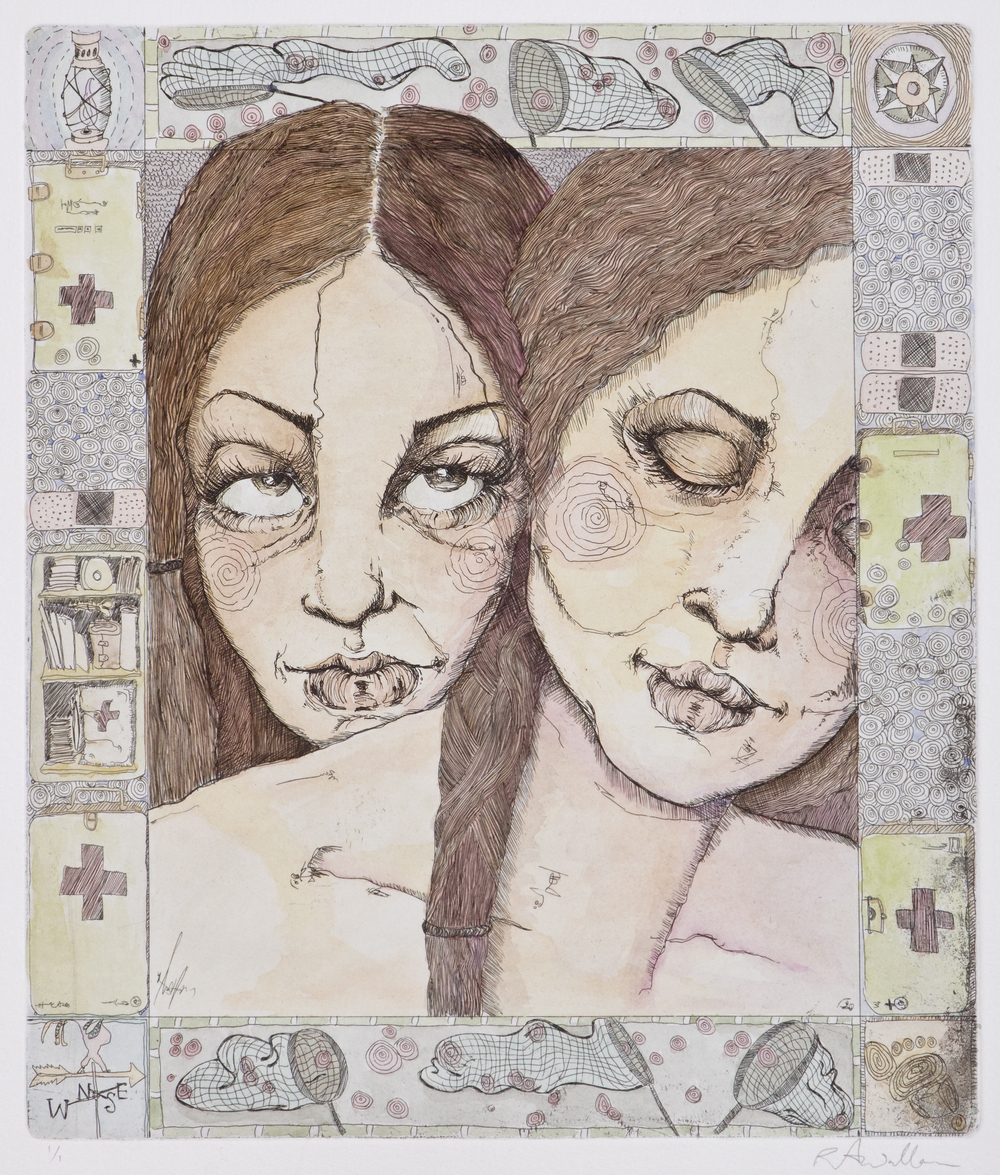 sisters III , etching and watercolor on paper, 2006
