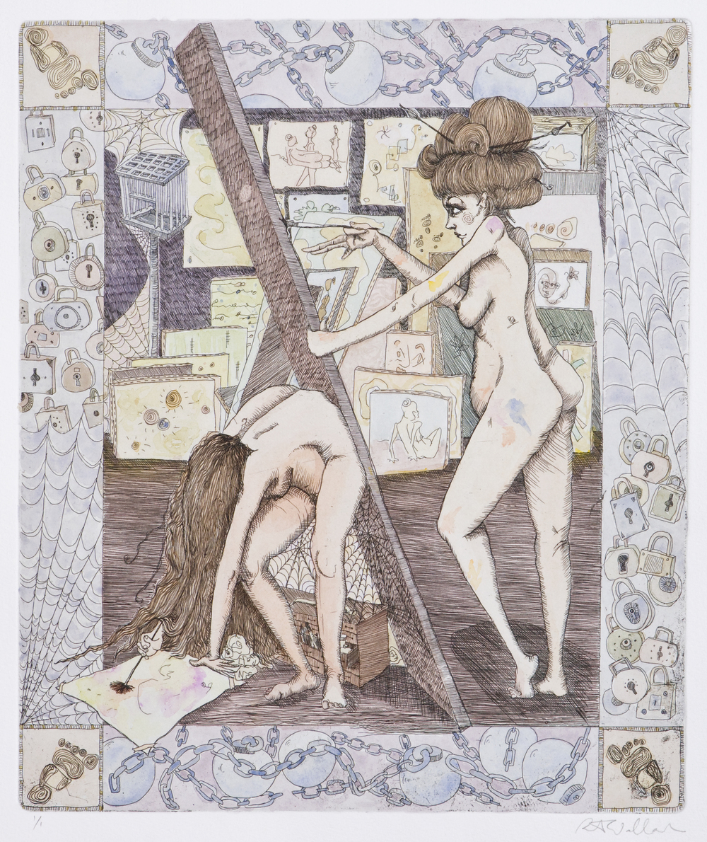 sisters IV , etching and watercolor on paper, 2006