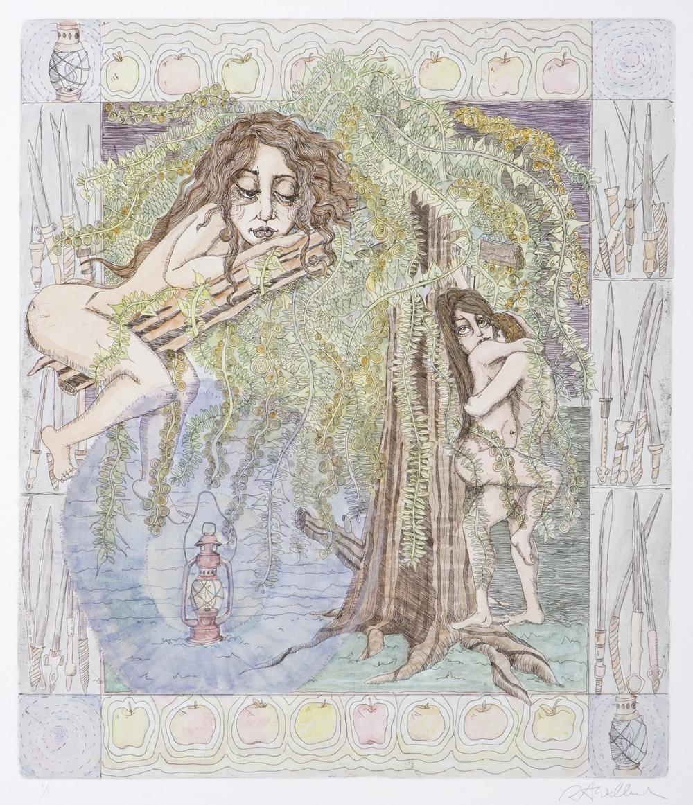 sisters V , etching and watercolor on paper, 2006