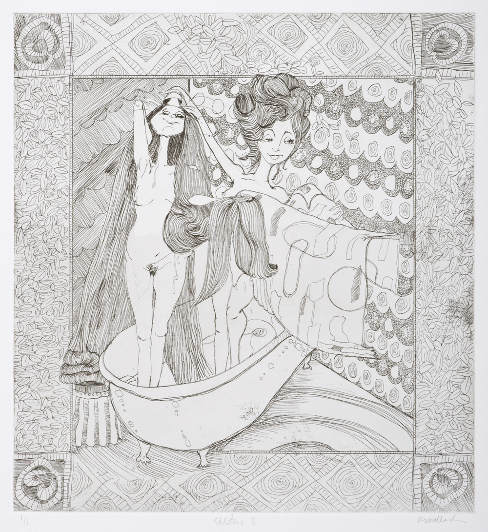 bath time , etching on paper, 2005