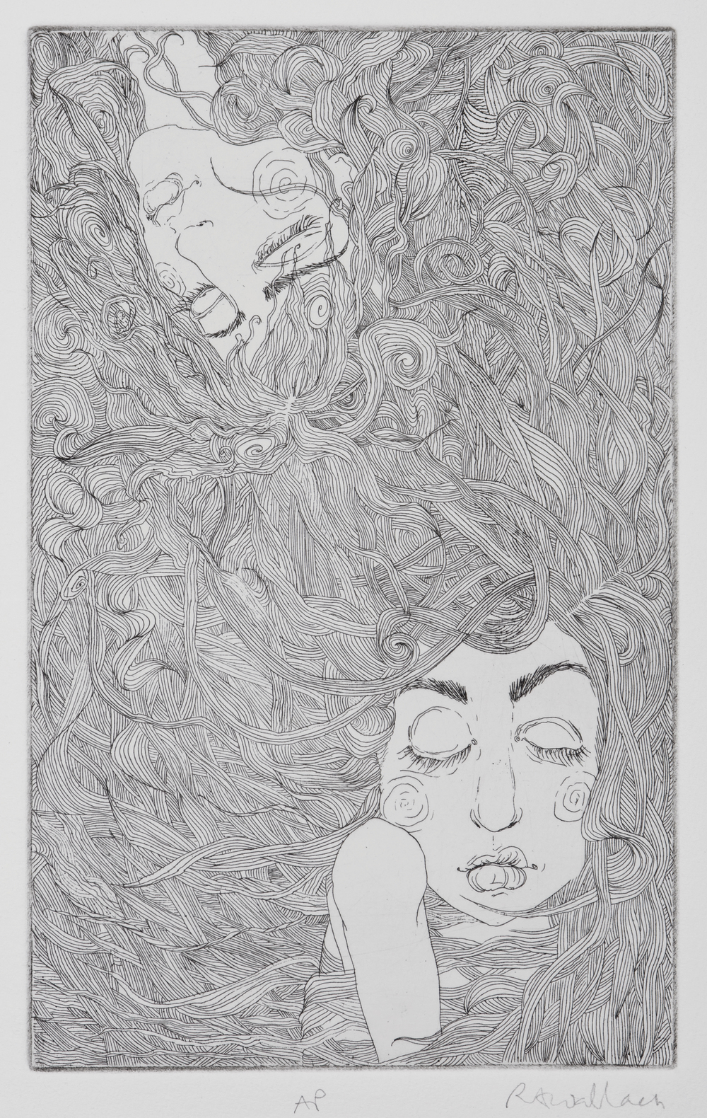 where one begins , etching on paper, 2009