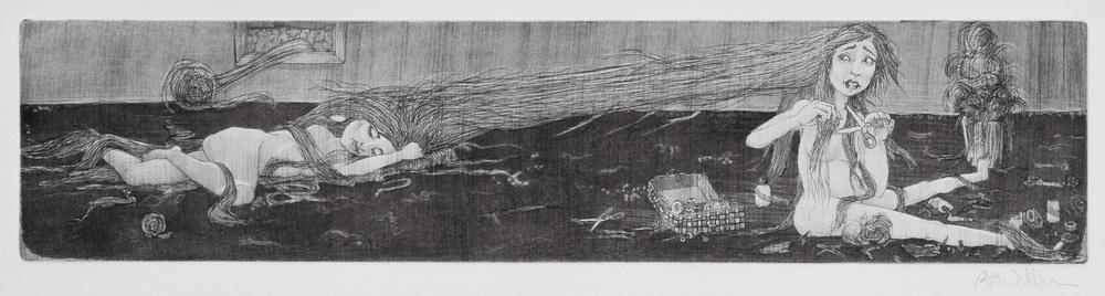 cutting ties , intaglio on paper, 2009