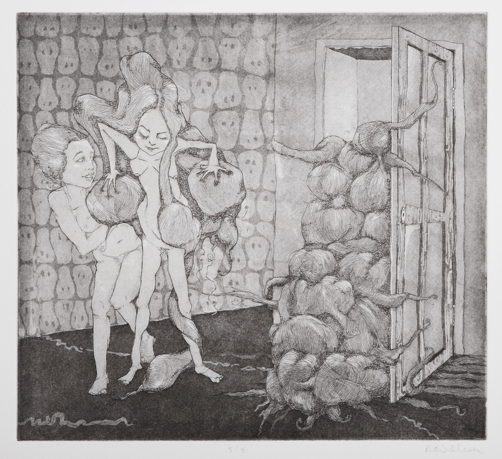hide away the heavy things , intaglio on paper, 2009