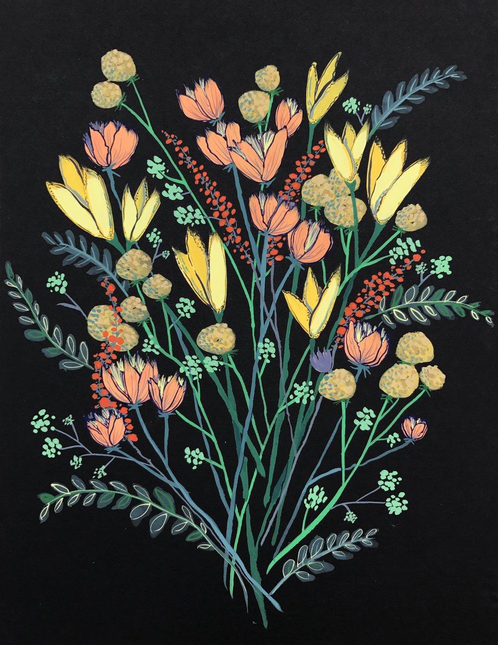 Floral illustration on black stock