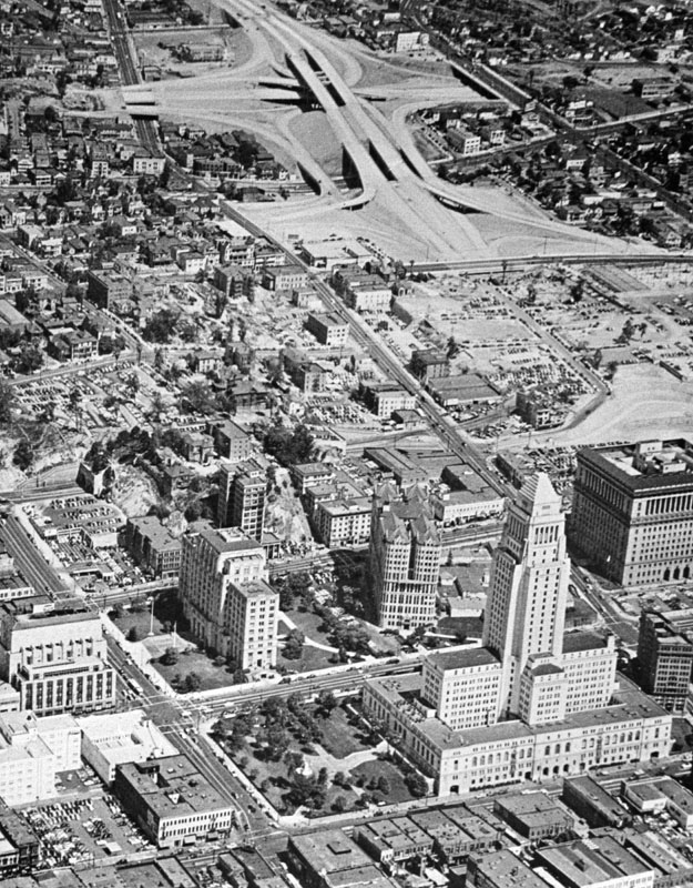 Lkg W. above City Hall with Hollywood Fwy construction in the distance, ca. 1948
