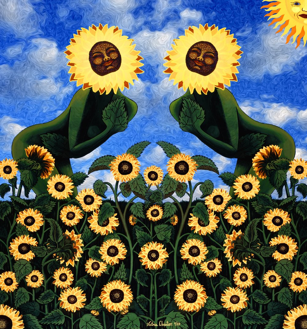 Sunflower Goddess Swirling Sky