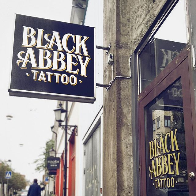 Logotype for Black Abbey Tattoo in Norrköping, Sweden. Photo by @henkeoberg