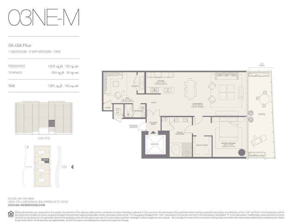 03 NE-M 1 Bed - 2 Bath plus Den