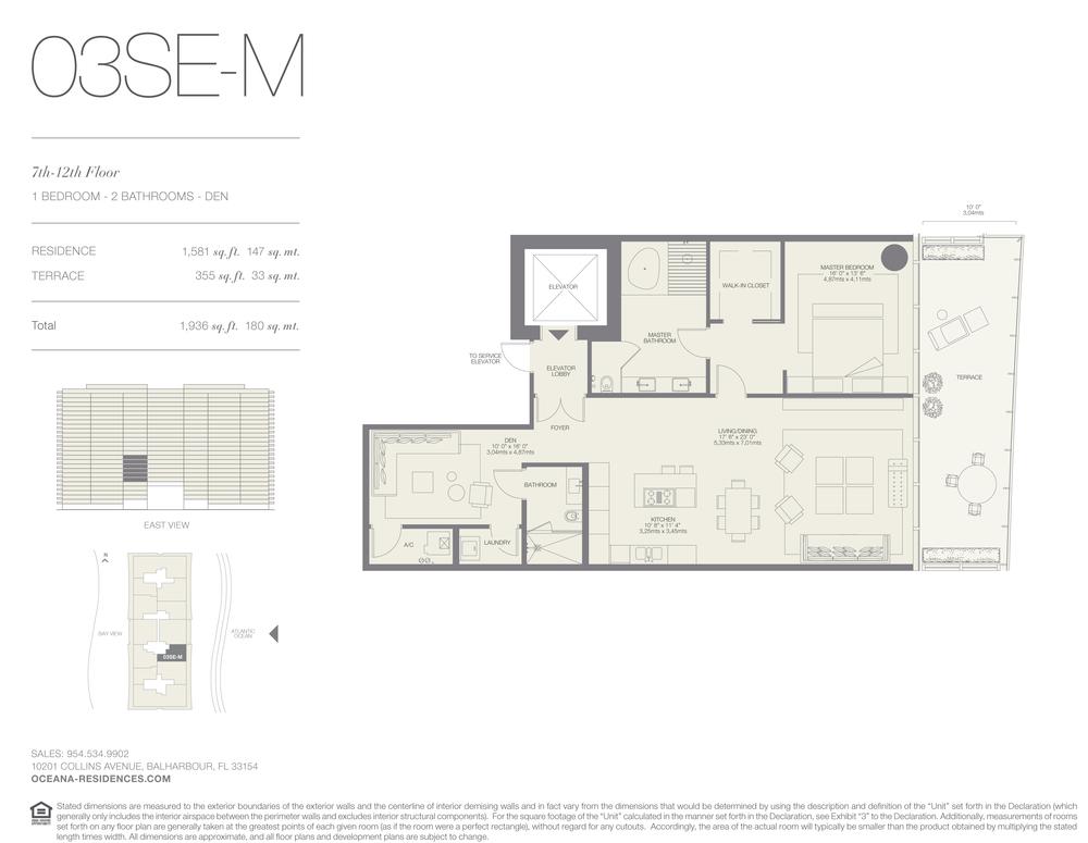 03 SE-M 1 Bed - 2 Bath plus Den