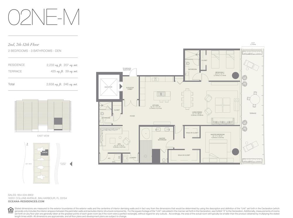 02 NE-M 2 Bed - 3 Bath plus Den
