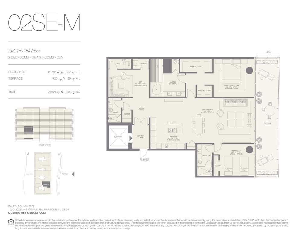 02 SE-M 2 Bed - 3 Bath plus Den