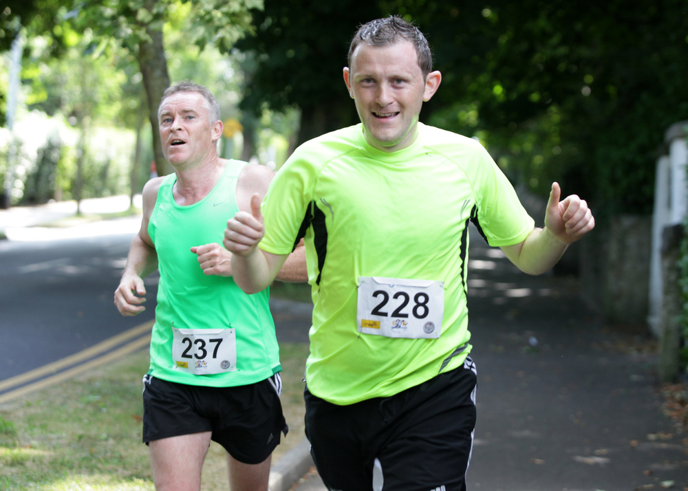 Delgany Running Club G10K around Greystones: Peter Mulhall from Tinahely Tri Club and Joe Mitchell on Church Road