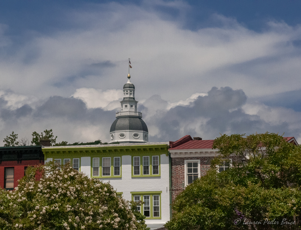 Annapolis, State House and downtown shops against a brilliant sky. © Lauren P Brice, Four Rivers Photo