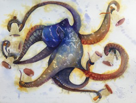 Tako Bell: Tako is the Japanese word for Octopus, this painting is still a work in progress.