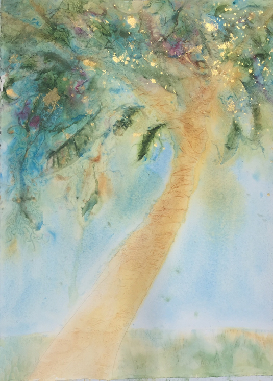 My paintings always give me hints about what's happening in my life. This tree caught my attention when at the beach last Sunday. She's just begun. she's reaching tall with exuberance.