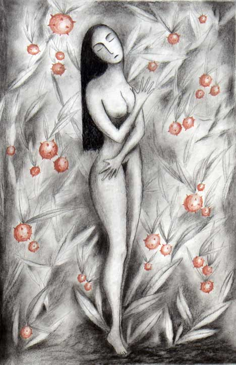 """Eve"", charcoal and crayon. My first symbolic artwork © 1991"