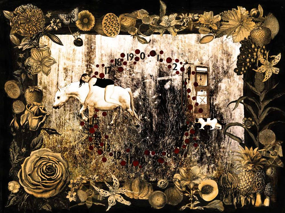 """Xpulsion"". Mixed media collage with artist's photographs. Copyright 2012."