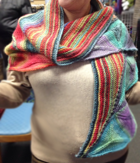Gretchen Ozburn's beautiful   Ojo de Dios shawl  , knit in Plymouth Yarn Gina. It was featured in Interweave Knits Winter 2014, designed by Vanessa Ewing.