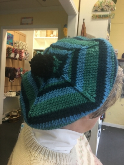 We had the pleasure of Knitting 8 of these beauties for Christmas Canteen at the Aurora Theater this past December, 2017. Carol, Gloria & Amanda worked hard to make these hats happen, within a week!