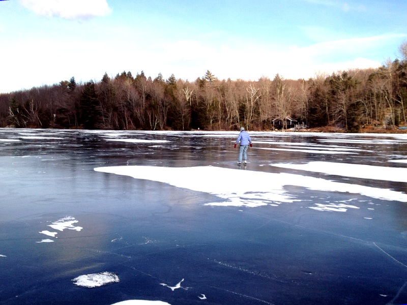 ... skating on an open pond in Vermont on a clear February day.