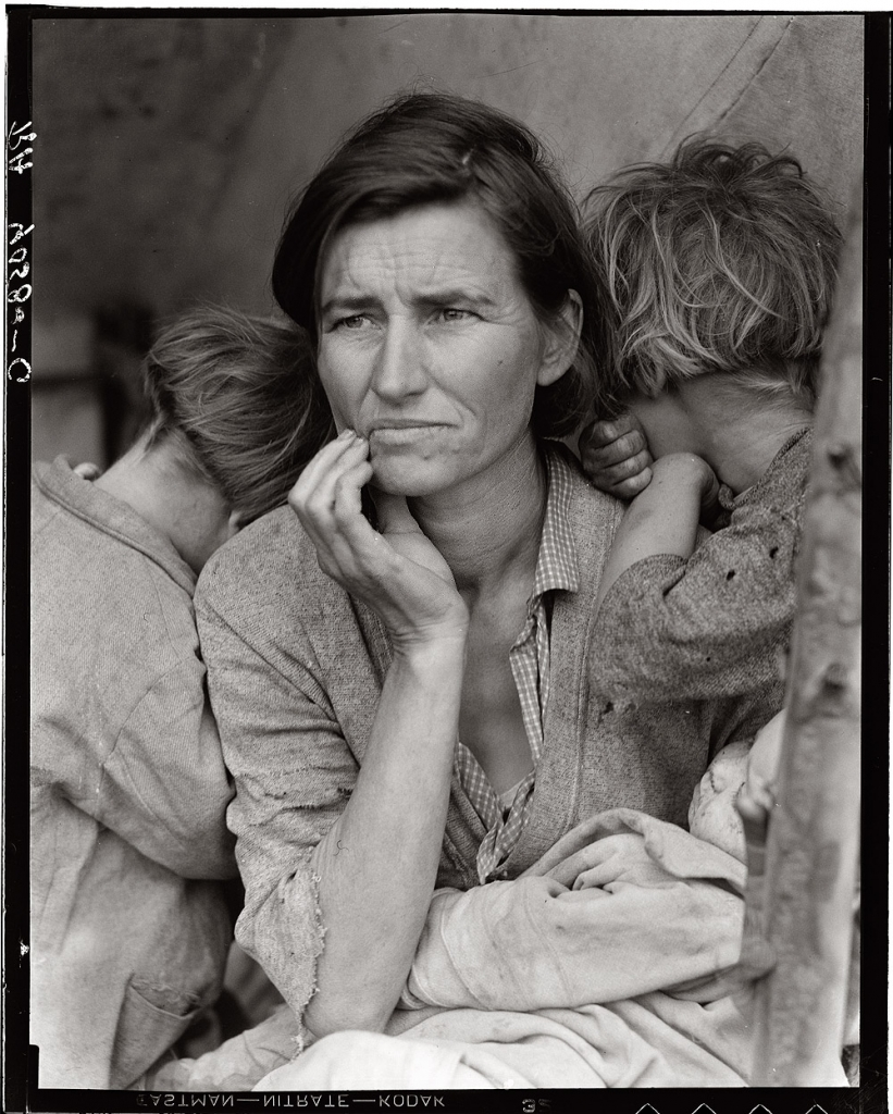 'Migrant Mother' - Florence Owens Thompson, 1936; photograph by Dorothea Lange