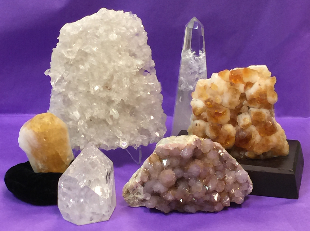 Citrine , Clear Quartz Crystal and Spirit Quartz    (Click for info)