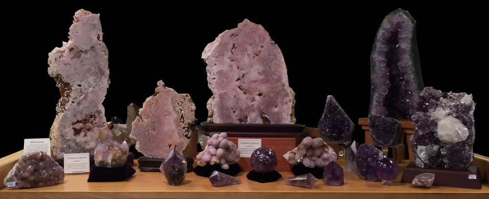 Amethyst, Cranberry Quartz and Spirit quartz    (Click for info)