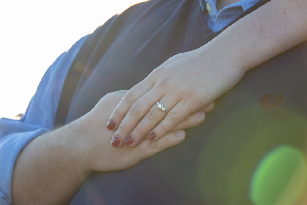 Sunset-Roanoke-shakers-field-flare-airport-love-together-virginia-photography-shoot-together-hands-ring